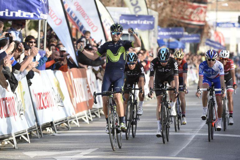 El ciclista Alejandro Valverde a su llegada a la meta de Granada en la primera etapa de la 63 edición de la Vuelta a Andalucía-Ruta del Sol