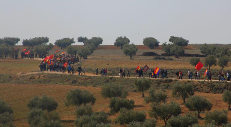 Integrantes de la X Marcha Conmemorativa del Jarama cruzan los terrenos de lo que fue el frente de batalla