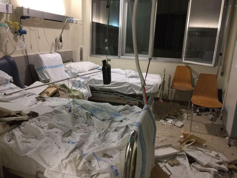 La habitación del hospital de La Paz donde se ha producido el derrumbe este jueves