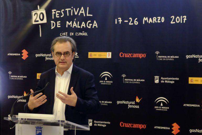 El director del Festival de Cine, Juan Antonio Vigar, durante la presentación de la XX edición del certamen