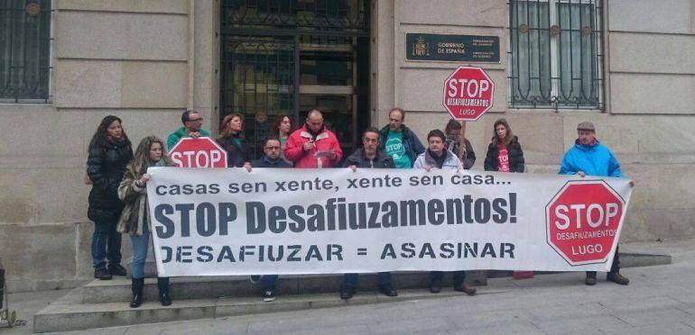 Una protesta de Stop Desafiuzamentos Lugo