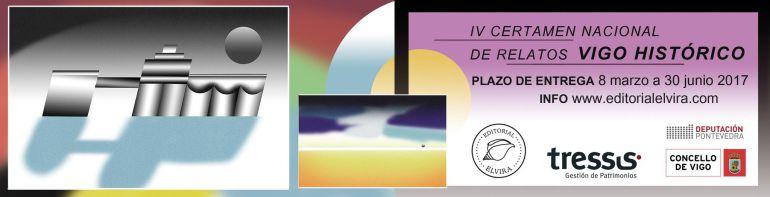 Cartel realizado con motivo de la presentación del IV Certamen de Relatos Vigo Histórico