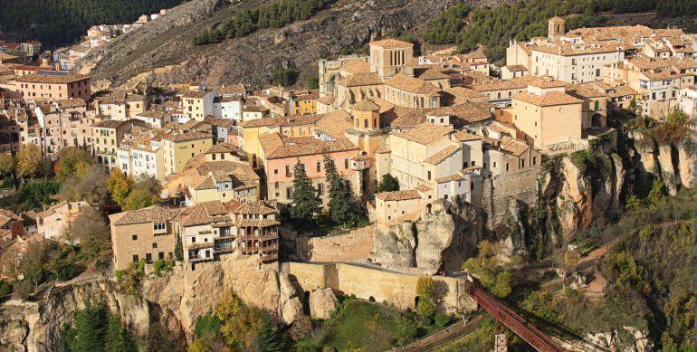 Vistas del casco antiguo de Cuenca desde el cerro del Socorro.