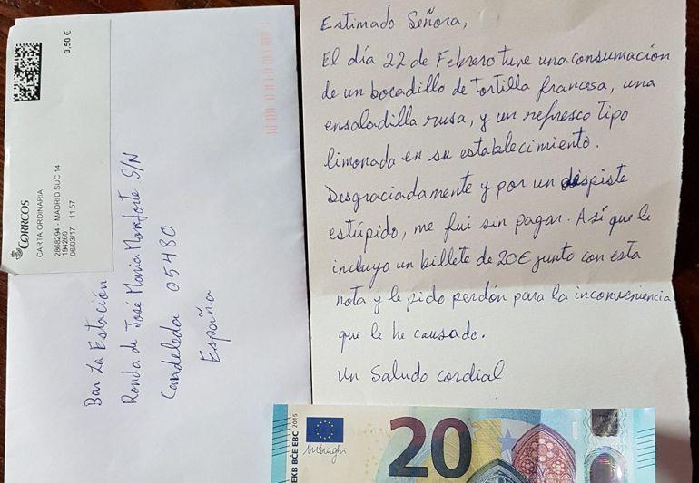 La carta de disculpa y los 20 euros remitidos al bar de Candeleda (Ávila).