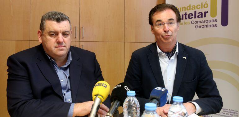 Josep Maria Solé (esquerra), director de la Fundació Tutelar i Pere Cornellà, president de pimec Girona.