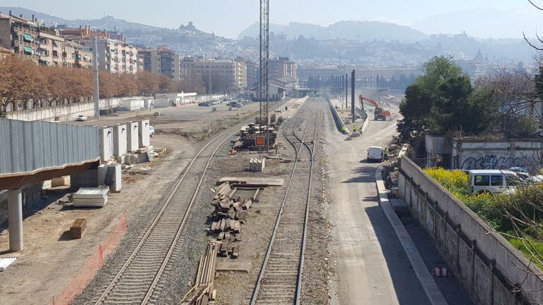 Obras del AVE en la estación de Granada