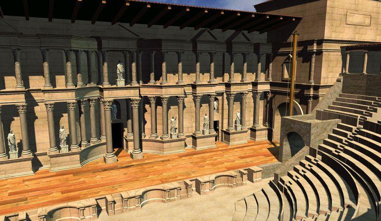 Recreación virtual de cómo pudo ser el teatro romano de Segóbriga.