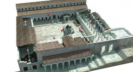 Recreación del foro de Segóbriga.