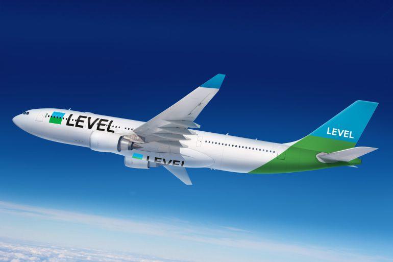Imagen virtual de un avión de la nueva marcha Level, del grupo IAG