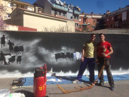 Javier Matesanz y Ruben Peinador, artífices del mural