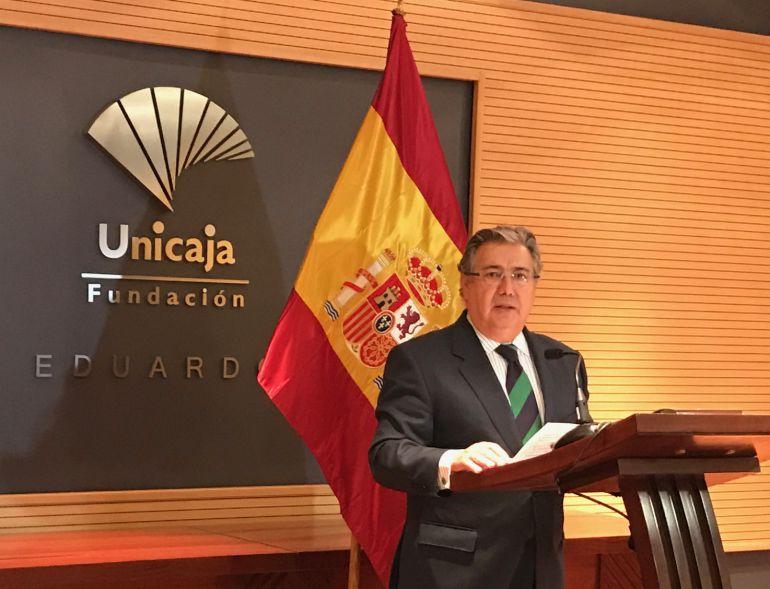 Zoido durante la declaración institucional que ha realizado este viernes en Málaga