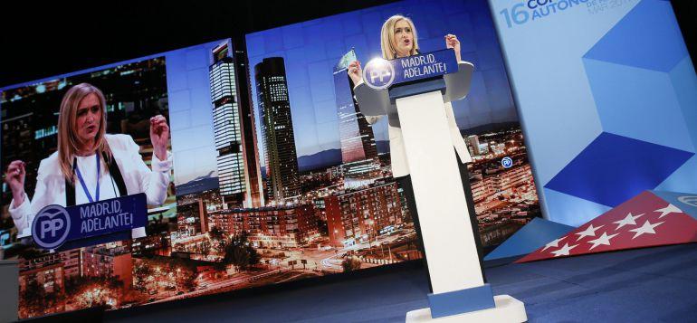 La presidenta de la Comunidad de Madrid, Cristina Cifuentes, durante su intervención en la segunda jornada del XVI Congreso del PP de Madrid.