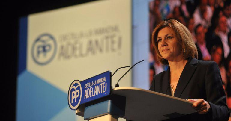 Cospedal en su intervención en el XIII congreso regional del PP de Castilla-La Mancha celebrado en Cuenca.