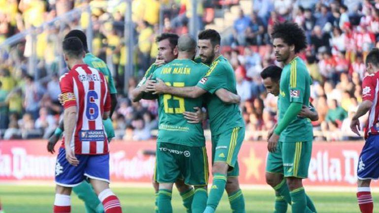 Ortuño celebra el primer gol al Girona