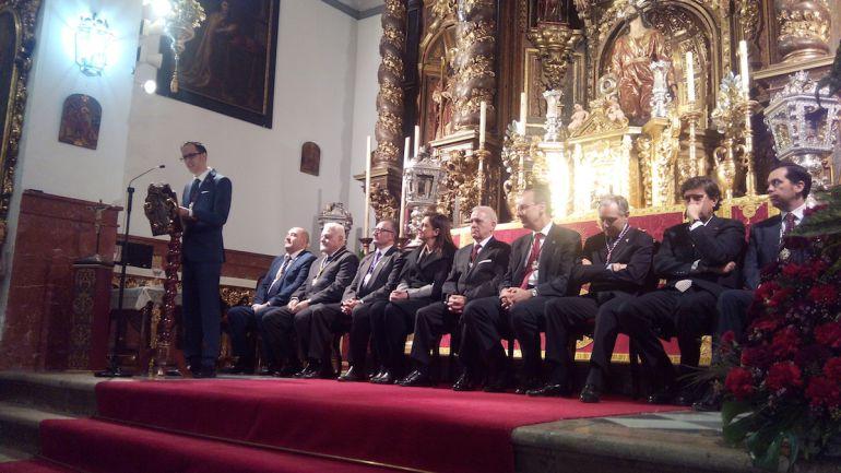 El pregonero Juan Manuel Cañizares durante su intervención en el Pregón de la Semana Santa del Realejo