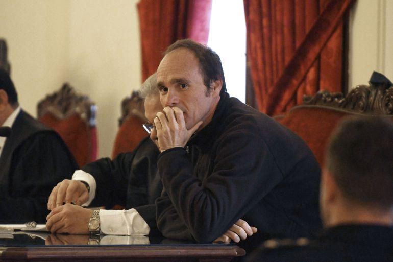 El acusado por el asesinato de la peregrina estadounidense, Miguel Ángel Muñoz Blas, durante el juicio que se sigue contra él en la Audiencia Provincial de León.
