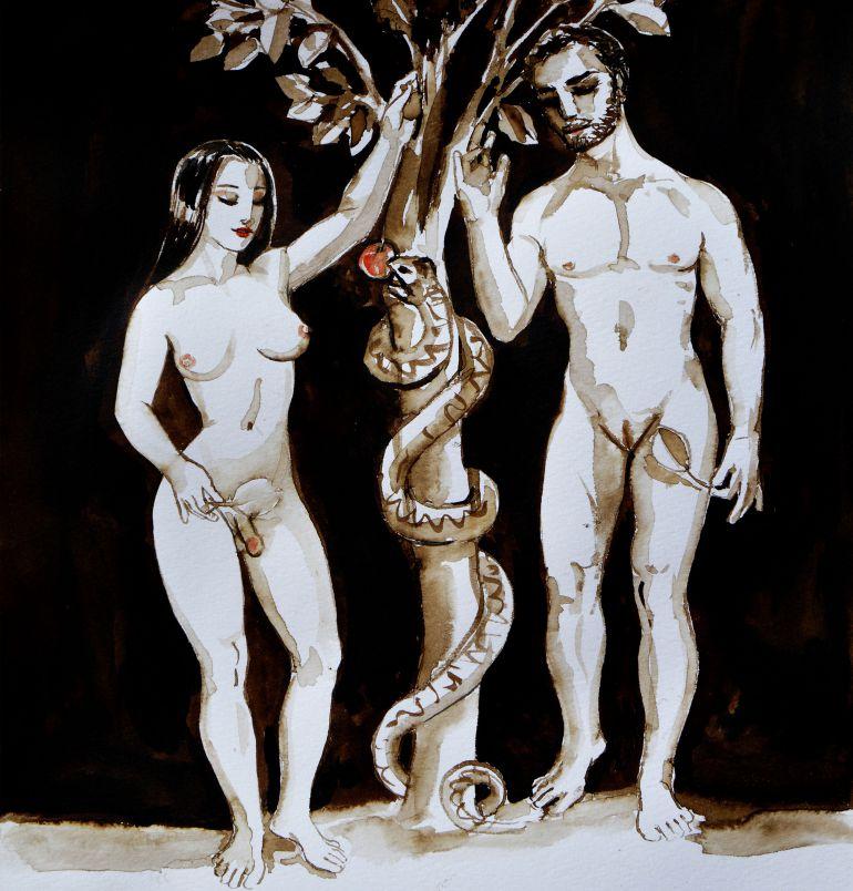 'Pecado origenital', uno de los grabados del artista molinense
