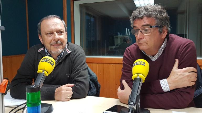 Joaquín Rubio Soler y Juan Guimerans en la tertulia de la Ventana
