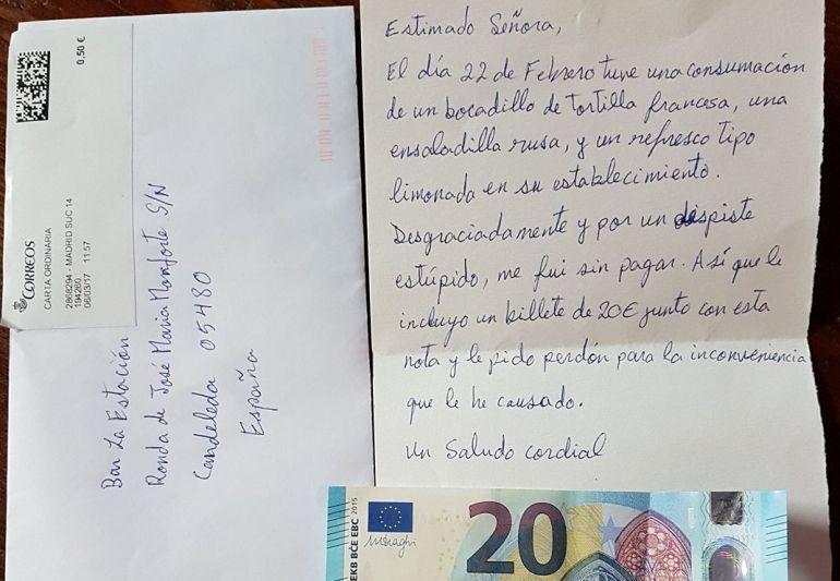 Carta enviada hasta Candeleda