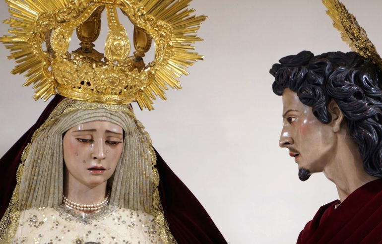 La Virgen del Dulce Nombre junto a san Juan evangelista procesionarán a partir del Domingo de Ramos de 2019