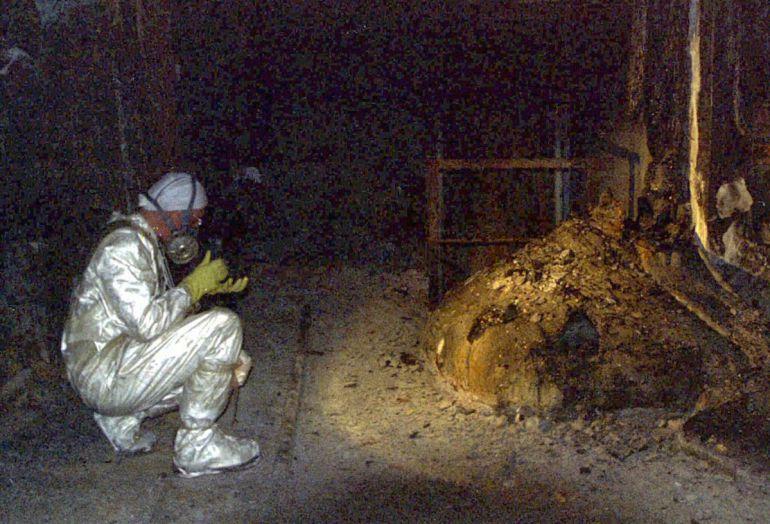 Imagen de la 'pata de elefante' de Chernóbil considerado el residuo más peligroso de todo el planeta