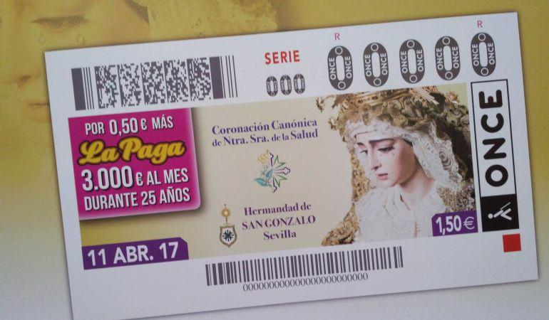 Imagen del cupón de la ONCE dedicado a la próxima coronación canónica de la Virgen de la Salud de San Gonzalo
