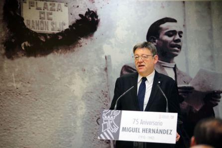 Ximo Puig en el acto de homenaje a Miguel Hernández en Orihuela
