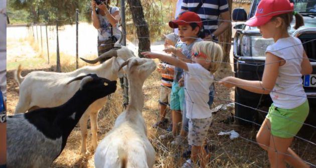 Niños durante una visita a la granja.