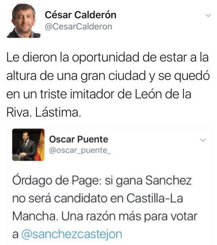 Captura de pantalla del Tuit de Oscar Puente