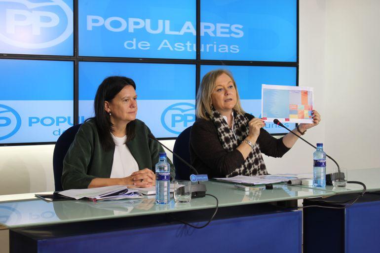 Susana López Ares y Mercedes Fernández durante el acto de valoración de las cuentas del Estado