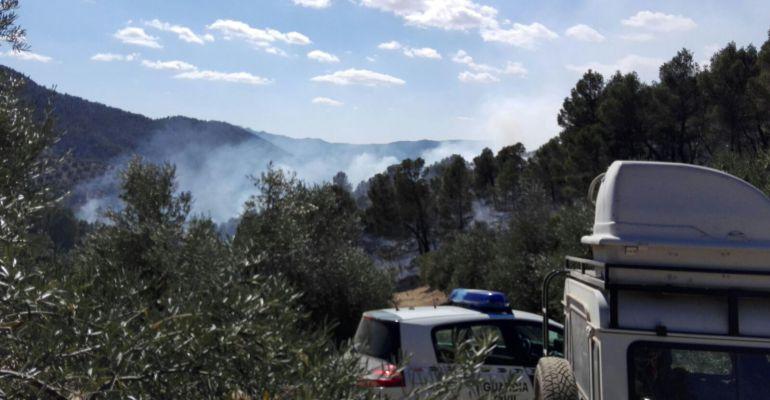 Humo del incendio forestal de Siles.