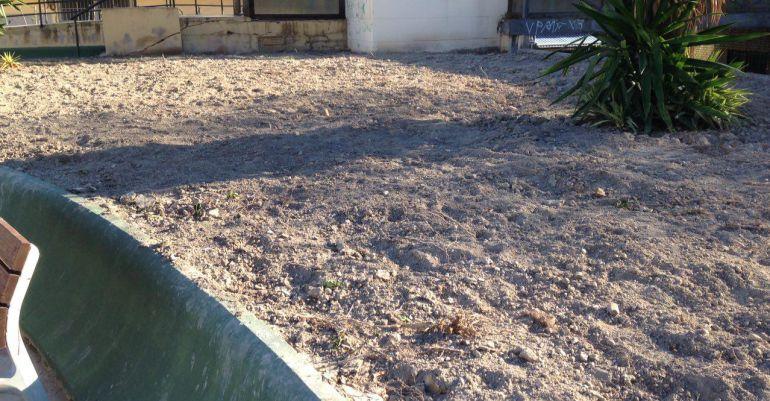 Estado de los jardines de la plaza García Lorca de Peñamefécit.