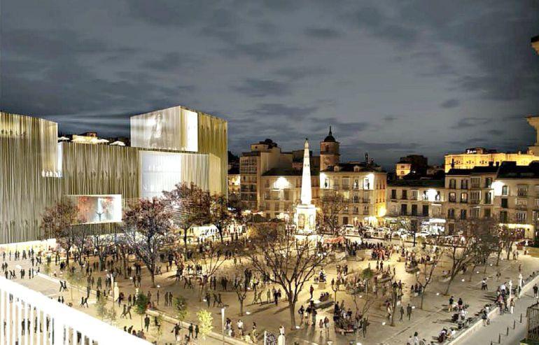 Infografía con el proyecto ganador del concurso de ideas para sustituir a los antiguos cines Astoria y Victoria en la Plaza de la Merced