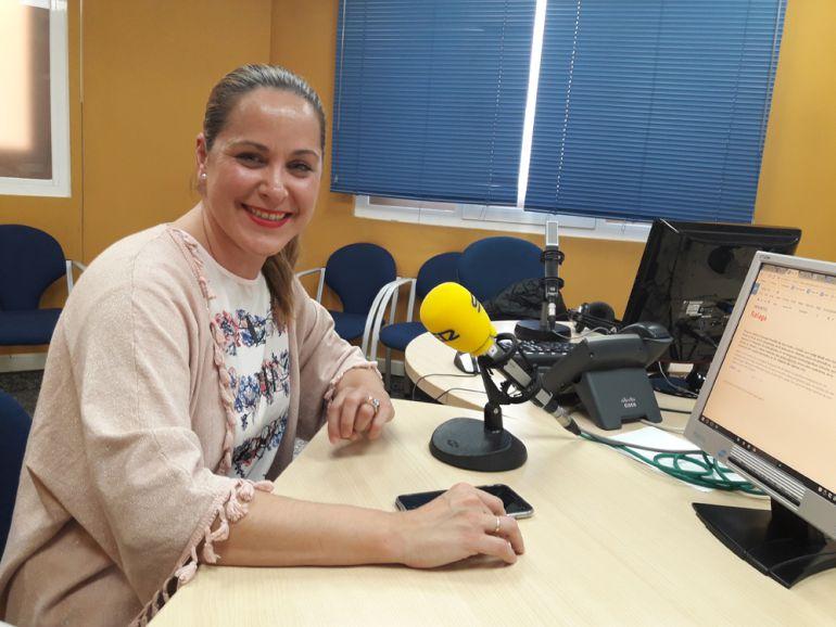 Mamen Castillo, durante la visita a Radio Granada.