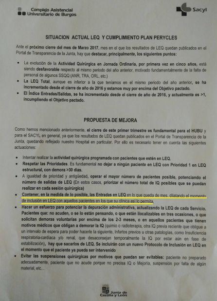 SANIDAD: El documento de la Junta para maquillar las listas de espera provoca la primera dimisión