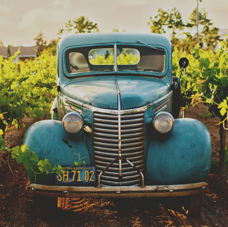 Coche clásico entre viñedos
