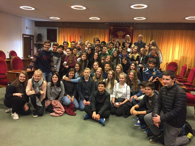 Delegación de estudiantes daneses en el Ayuntamiento de Aranda