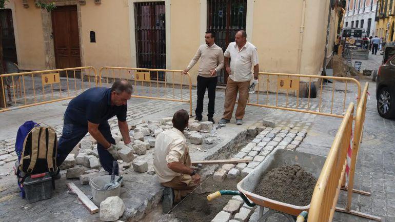 Imagen de una obra en el centro de Jerez