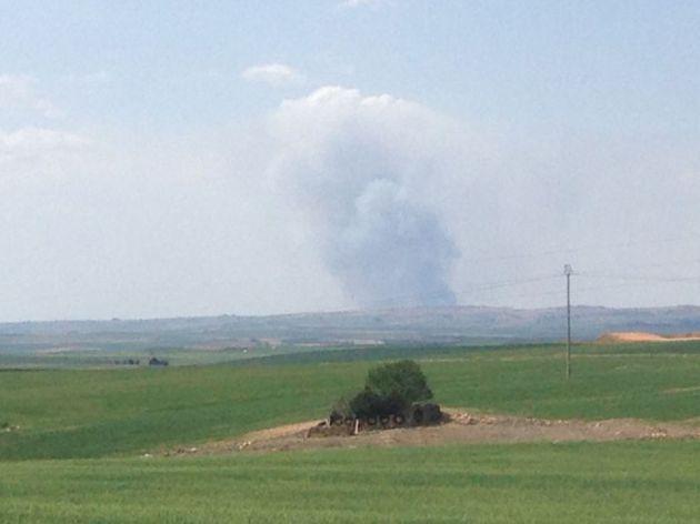 Columna de humos vista desde Zamarramala