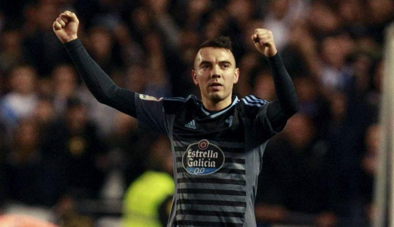 Iago Aspas celebrando su gol del triunfo en Riazor