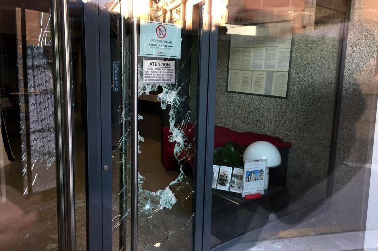 Una de les oficines que ha destrossat el lladre a Llagostera