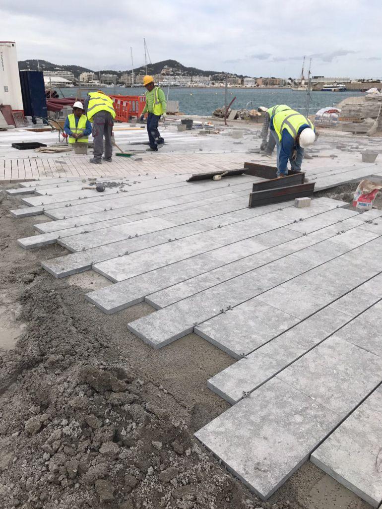 Imagen del estado actual de las obras en la zona portuaria