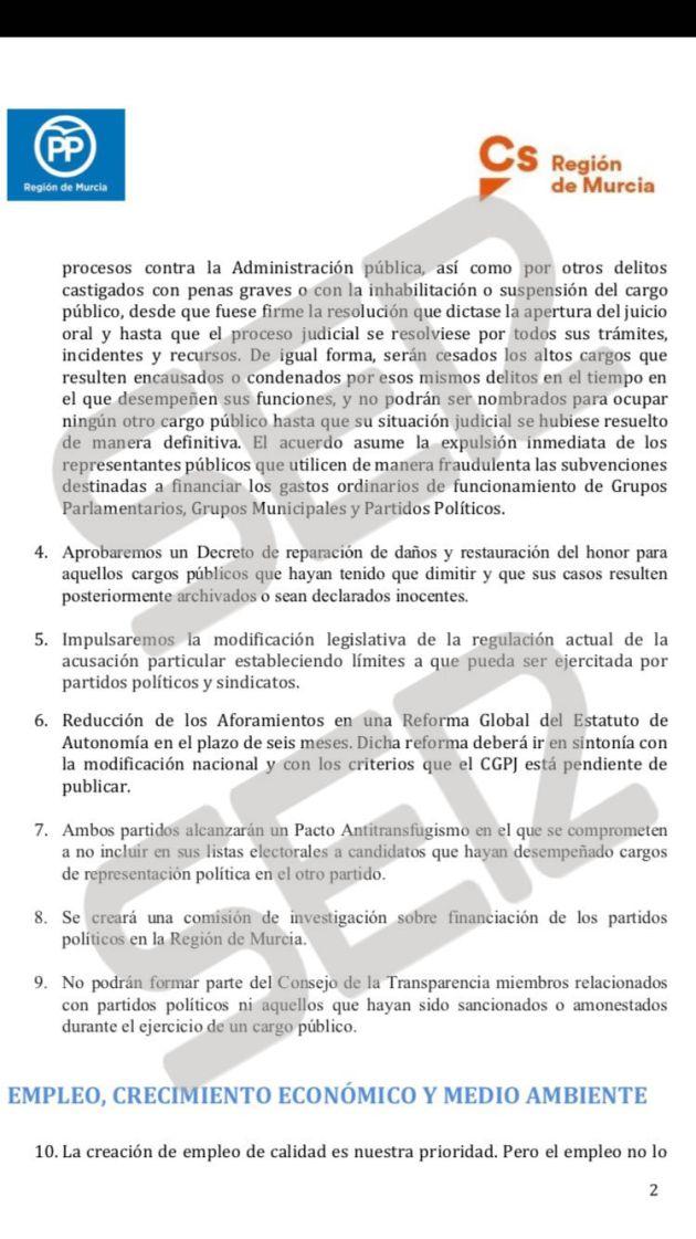 """Así es el """"inaceptable"""" acuerdo que propone el PP a Ciudadanos para investir a López Miras"""