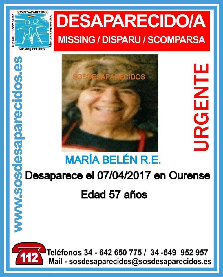 Belén R.E., ourensana de 57 años desaparecida de su domicilio desde el pasado 7 de abril.