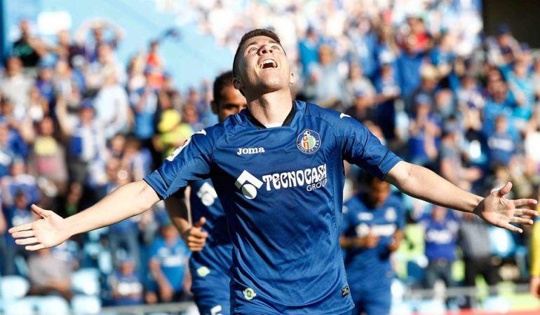 Portillo celebra su tanto en el último partido en casa ante el Levante U.D.