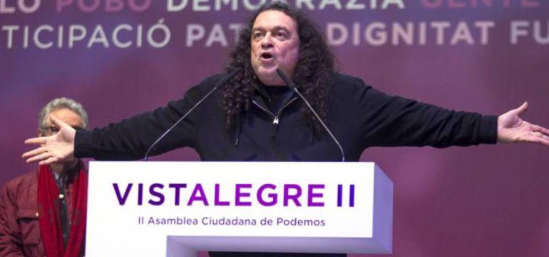 Fernando Barredo durante su intervención en la Asamblea de Podemos Vistalegre 2