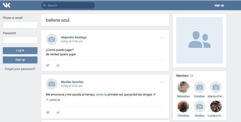 Captura de pantalla de la xarxa social VK, Vkontakte, una mena de Facebook rus, on molts joves hi deixen missatges demanant que volen participar del joc