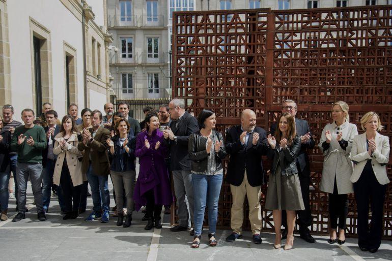 Parlamentarios vascos durante la concentarción en apoyo a Forcadell