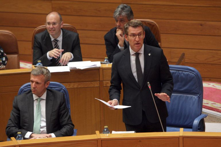 Feijoo en la sesión de control en el Parlamento