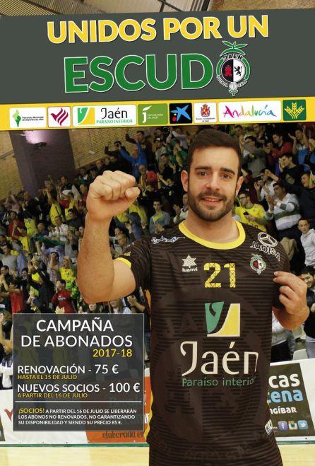 Cartel de la campaña de abonados del Jaén Paraíso Interior FS.